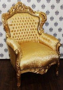 Barock Sessel King Gold Muster / Gold - Möbel Antik Stil – Bild