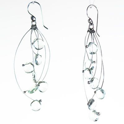 Tickle Multi w/ Green Amethyst Earrings - Zuzana Korbelarova hand forged and fabricated silver jewelry, represented by Human Arts Gallery in Ojai, CA.