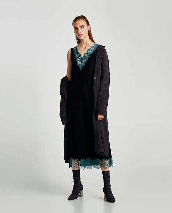 ZARA - SALE - VELVET DRESS WITH LACE