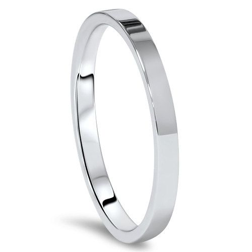 Great MM White Gold Flat High Polished Wedding Band K Solid Ring Size