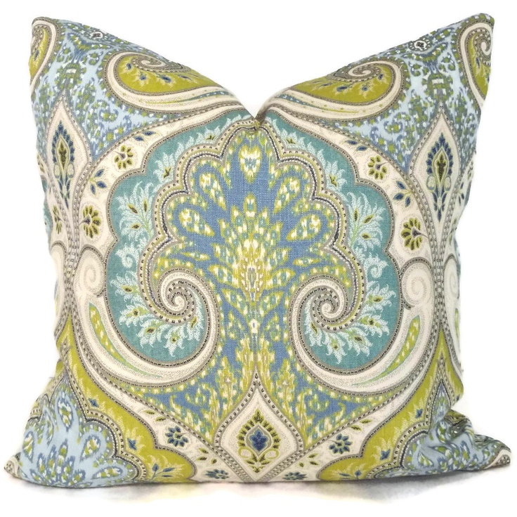 Lime Green And Blue Throw Pillows : Lime Green and Blue Ikat Decorative Pillow Cover 18x18, 20x20 or 22x22 or Eurosham, Kravet ...