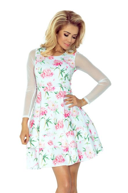 Dámské společenské šaty s dlouhým rukávem ze síťoviny s potiskem květin bílé 9bc658d8828