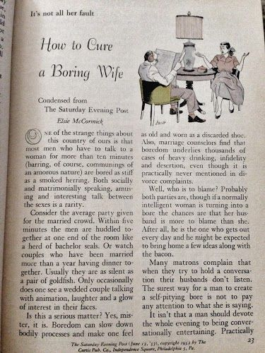 """How to cure a boring wife"" 1953 Readers Digest article. Argghhhhhhhhhhhh!"