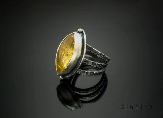 Silver and Citrine Ring Sterling Handmade Contemporary