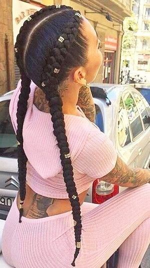Useful 19 Two French Braids Black Hairstyles #HairStyles #hairs   – Hair Styles