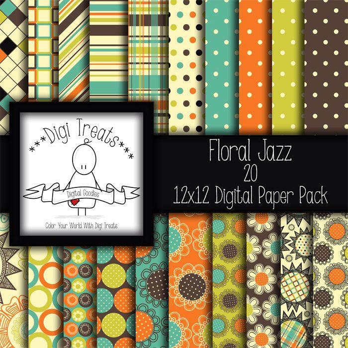 RÉDUCTION de 30 % ~ Floral Jazz, pack papier scrapbook digital. documents numériques de 12 « x 12 » (jpeg), arrière-plans ~ *** Téléchargement instantané *** par DigiTreats sur Etsy https://www.etsy.com/be-fr/listing/225711340/reduction-de-30-floral-jazz-pack-papier