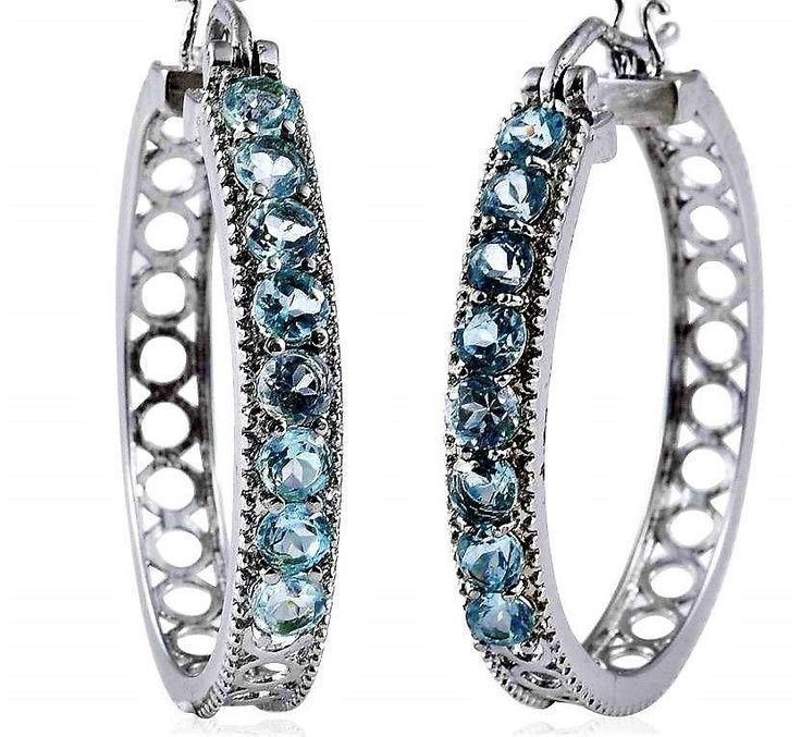 Sky Blue Topaz Stainless Steel Openwork Hoop Earrings 3 Carats  | Jewelry & Watches, Fine Jewelry, Fine Earrings | eBay!