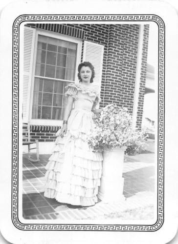 Photograph Snapshot Vintage Black and White: Lady Debutante Dress Flowers 1940's