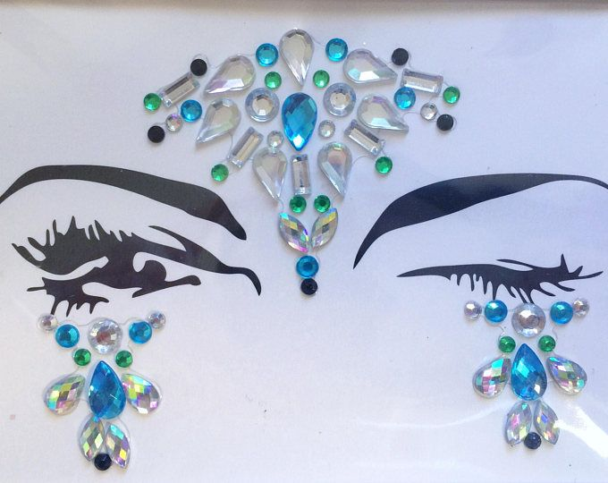 Teal & Green Crystal Festival Face Gems: makeup, hair, nail art, festival glitter, costume, unicorn, body, edc, bindi, sticker, edm, rave
