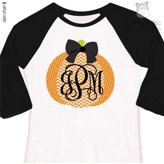 Fall shirt monogram chevron pumpkin personalized raglan style Tshirt - adorable custom monogrammed pumpkin raglan shirt