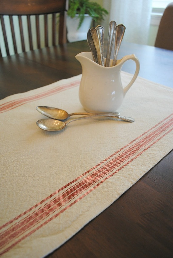 farmhouse table runner cream red stripe small by PinkPostcard, $17.00