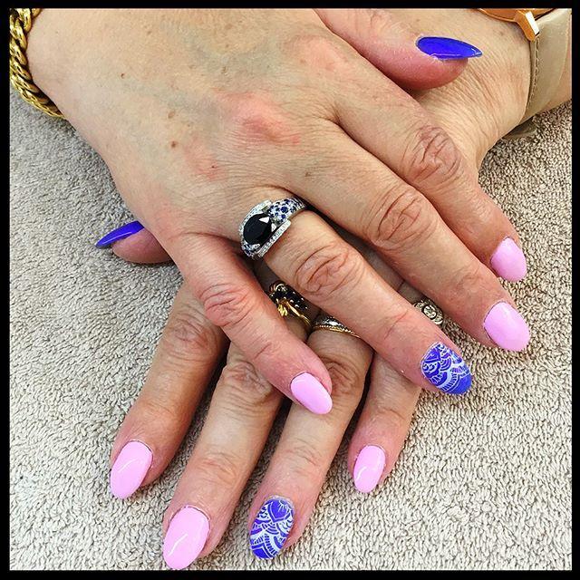 #ongles #Jarny bleu  blanc  rose