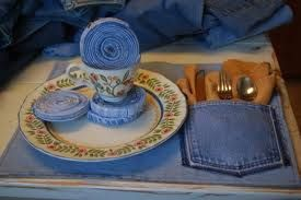 Denim Placemat: Places Mats, Recycled Jeans, Denim Jeans, Tables Sets, Recycled Clothing, Blue Jeans, Cool Ideas, Recycled Denim, Old Jeans