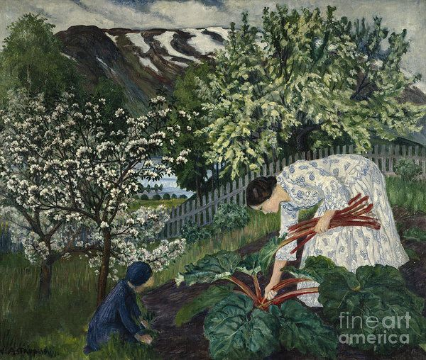 Nikolai Astrup Art Print featuring the painting Rhubarb by Nikolai Astrup