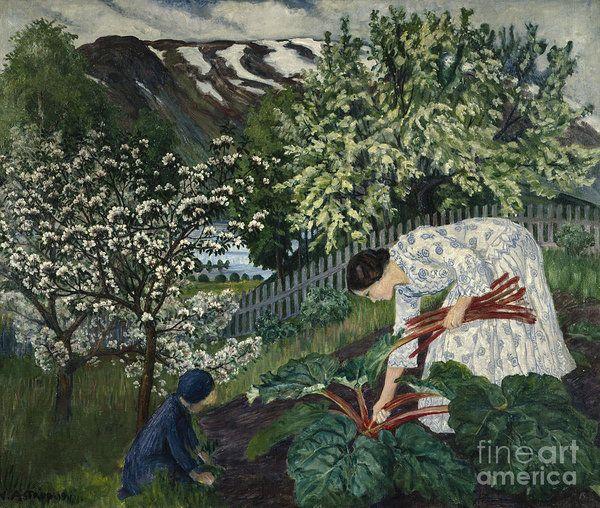 Nikolai Astrup Art Print featuring the painting Rhubarb by Nikolai Astrup