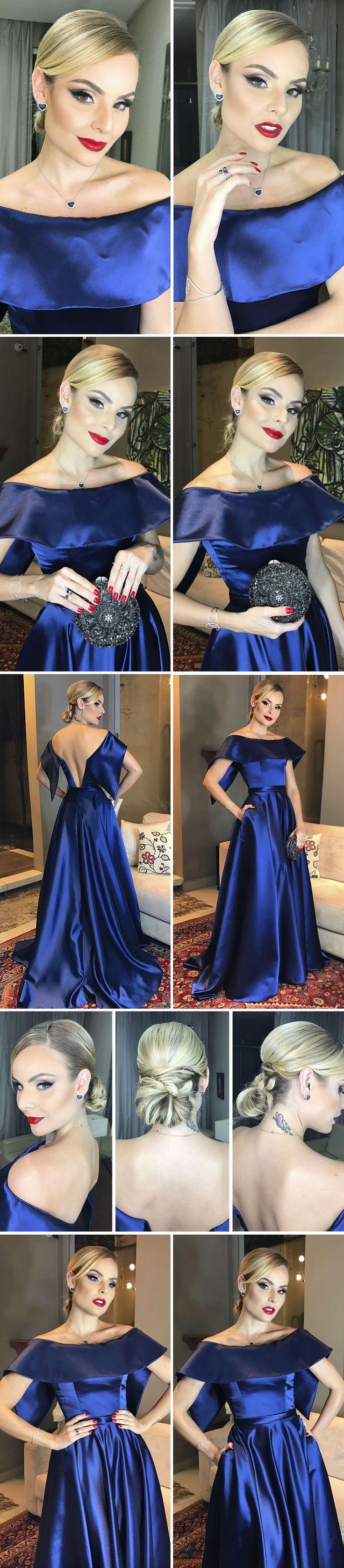 Layla Monteiro vestido longo azul cetim ombro a ombro madrinha casamento beleza batom vermelho coque baixo