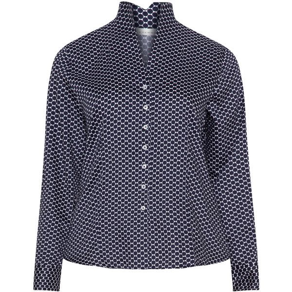 Eterna Dark-Blue / White Plus Size Patterned shirt ($110) ❤ liked on Polyvore featuring tops, plus size, plus size tops, womens plus tops, plus size white tops, white v neck shirt and plus size long sleeve tops