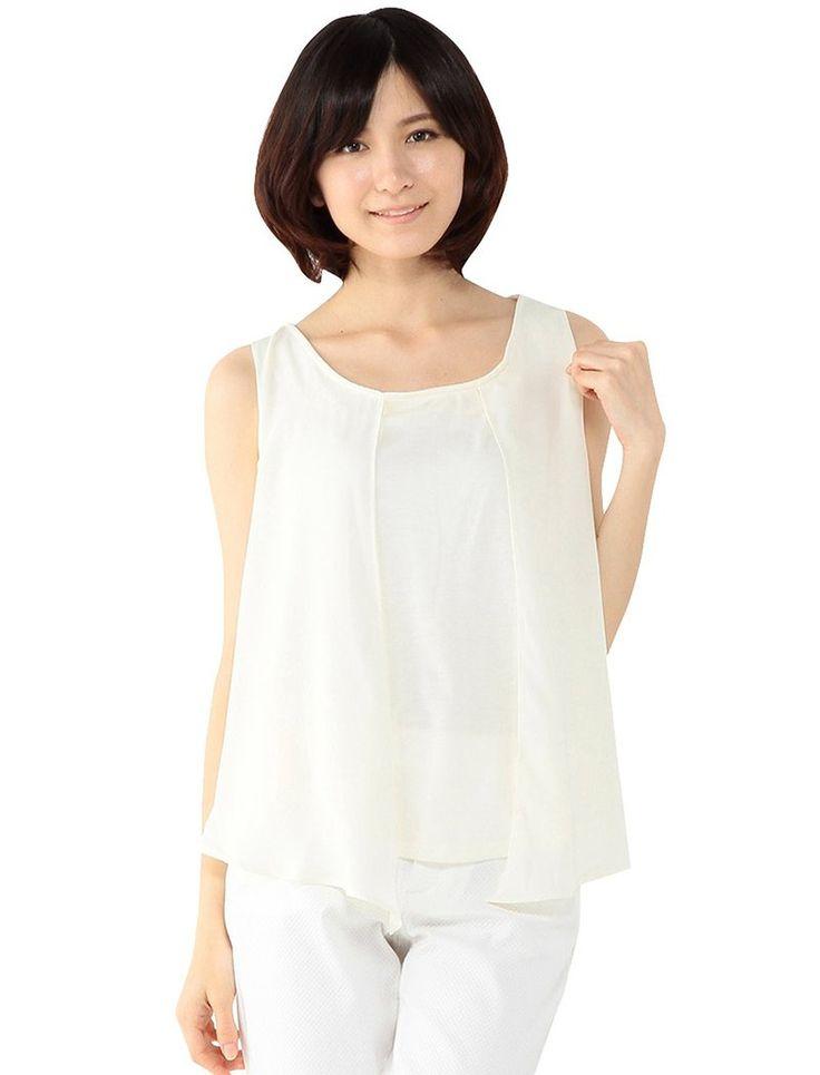 Amazon.co.jp: (ジボール)GIVORS シフォンノースリーブブラウス: 服&ファッション小物