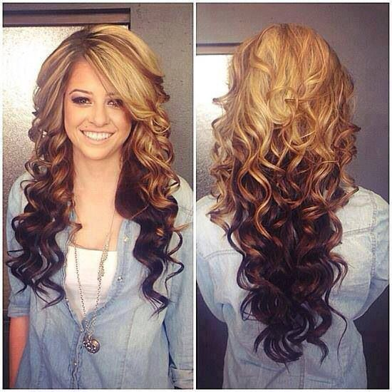 Beautiful curled long hair-duo style