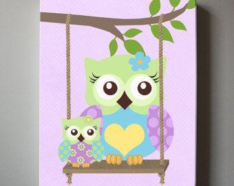 Whimsical Owls Canvas Art Nursery Decor - Girls wall art - OWL canvas art, Baby Nursery Art - Purple and Aqua Nursery