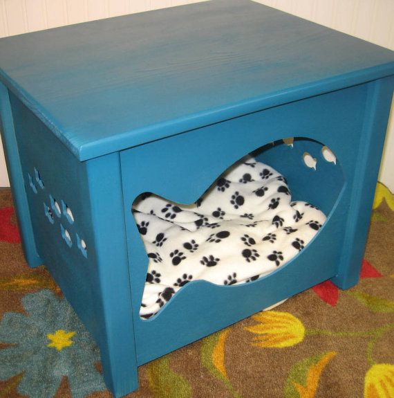 Cot In A Box Morocco Turquoise: Cat House Combo Bed Or Litter Box Cover Fish Design