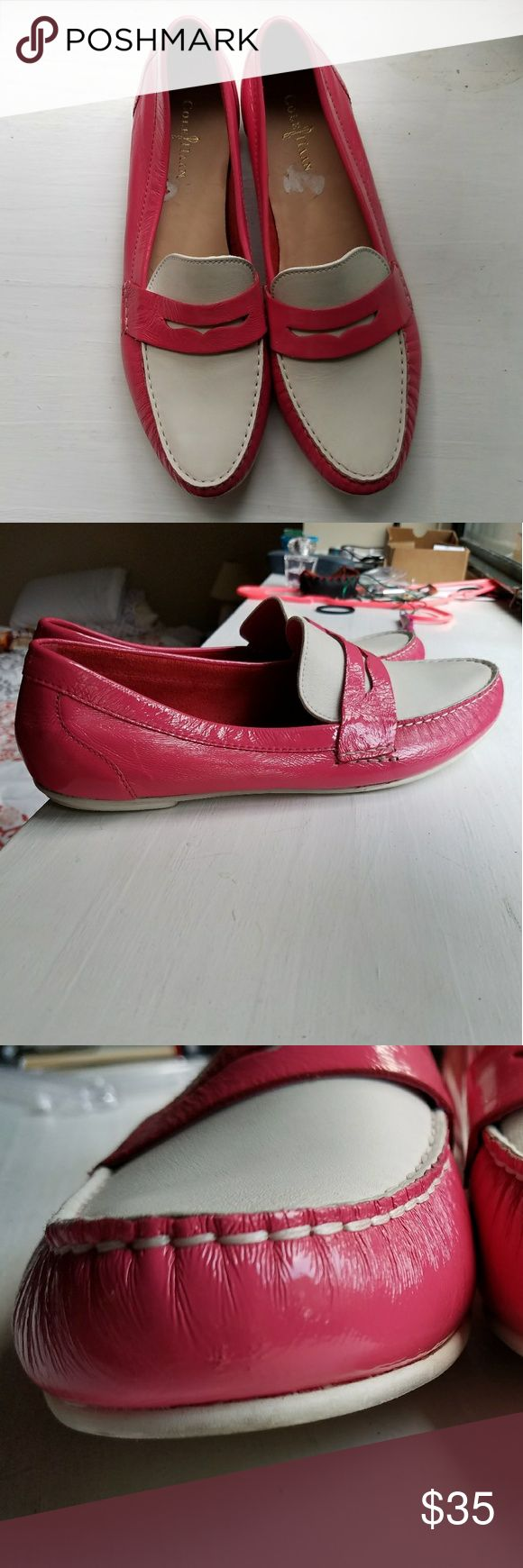 Cole Haan Penny Loafers Pink & White penny loafers in excellent condition Shoes Flats & Loafers