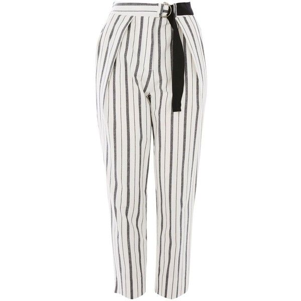 Topshop Petite Stripe Peg Leg Trousers (€45) ❤ liked on Polyvore featuring pants, ivory, white striped pants, cotton pants, white cotton pants, petite pants and high waisted striped pants