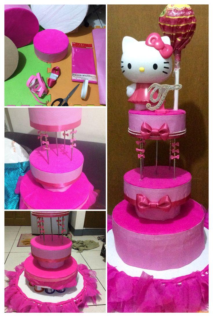 Hello Kitty styrofoam base for candy cake (Gateau de Bonbons)