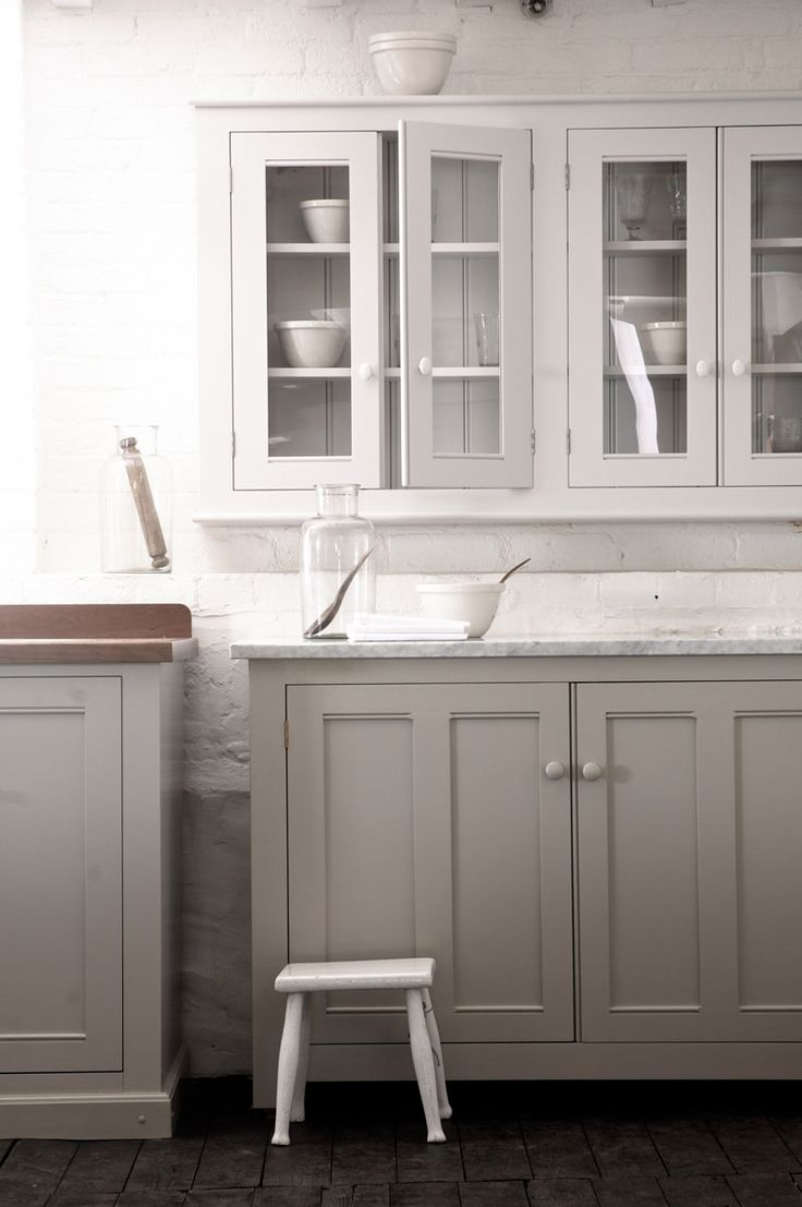 The Classic English Kitchen by deVOL  gray bottom cabinets white on