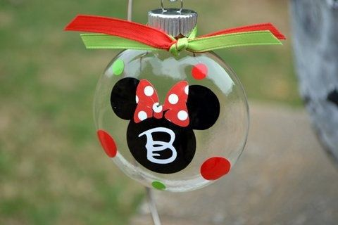 Holiday Party and Decor Small Initial Mickey or Minnie Mouse Christmas by ihaveafavor Includes a gift box!