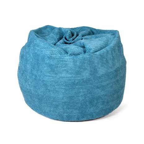 Designed with a knit effect pattern, this soft bean bag is available in a teal shade of blue....