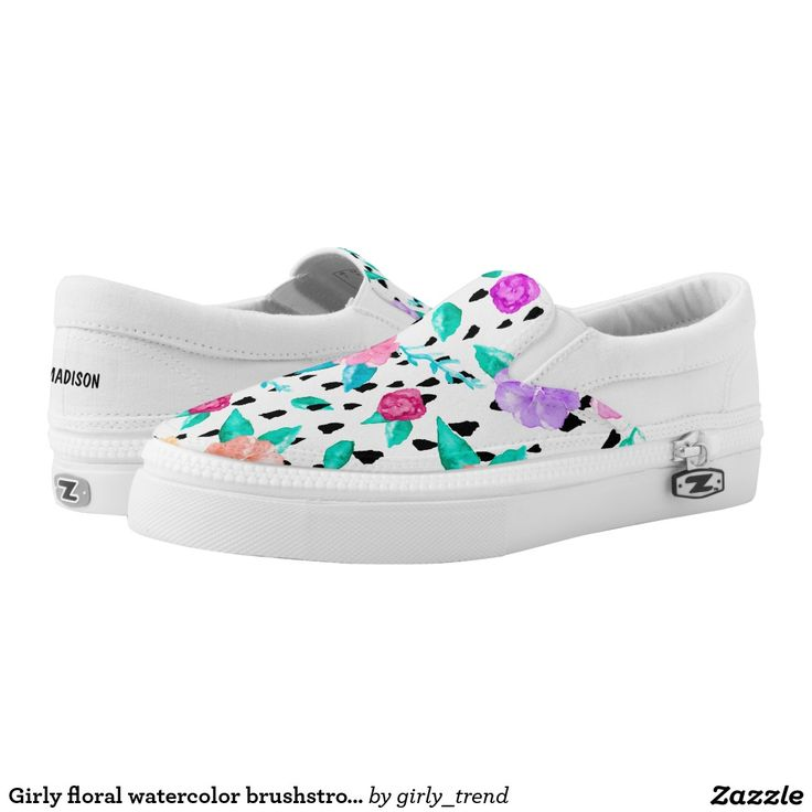 Girly floral watercolor brushstrokes pattern printed shoes