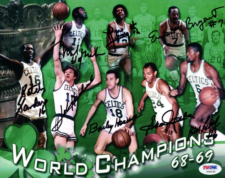 1968-69 Boston Celtics Autographed 8x10 Photo With 8 Total Signatures Including Bill Russell, John Havlicek, Bailey Howell