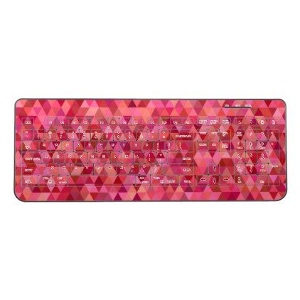 Pink Triangles Wireless Keyboard - pink gifts style ideas cyo unique