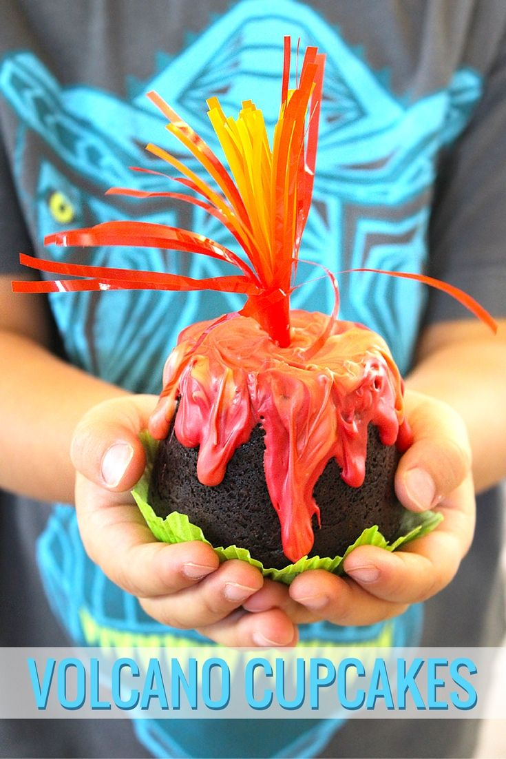 If you're throwing a dinosaur themed party or playdate, these volcano cupcakes are a must! @partyplanits shares her cupcake recipe on our blog.