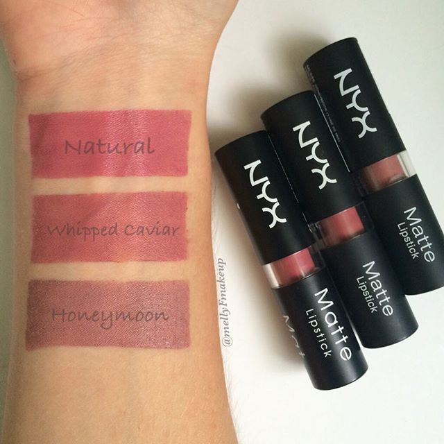 NYX Matte Lipsticks in Natural, Whipped Caviar, and Honeymoon. Follow my instagram @mellyfmakeup for more!