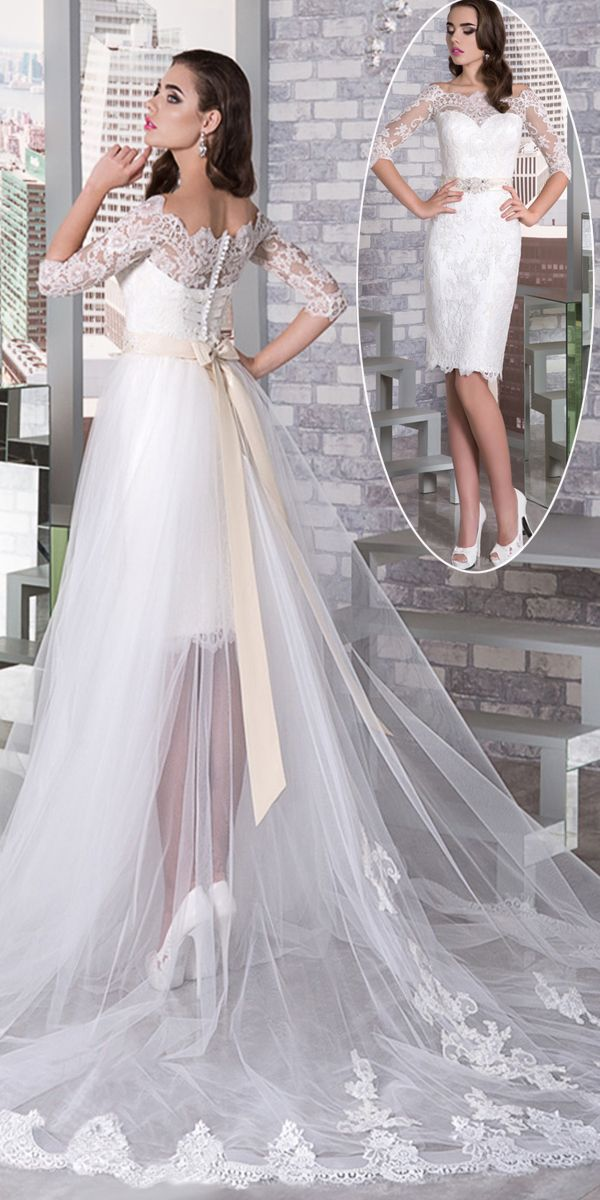 15cd17e092b Fantastic Tulle Off-the-shoulder Neckline 2 In 1 Wedding Dress With Lace  Appliques   Detachable Skirt