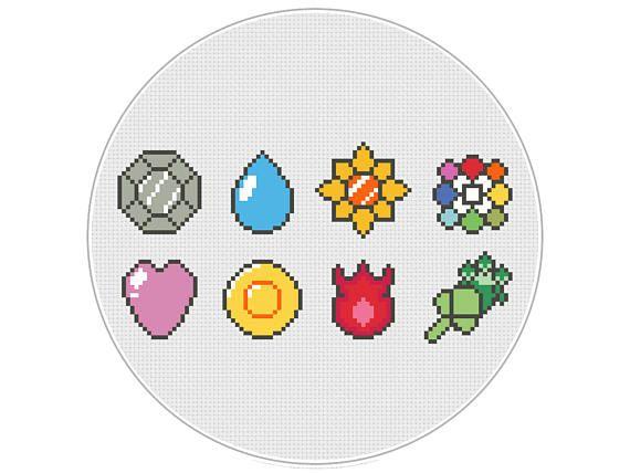 Pokemon Red Blue Yellow Kanto Badges Cross Stitch Pattern