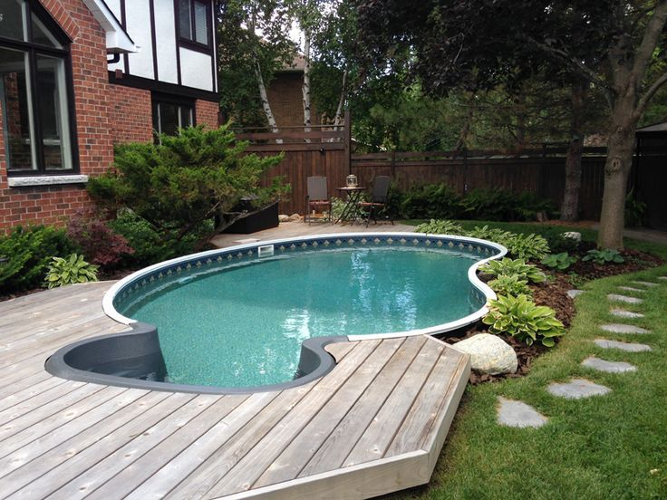 48 best images about semi inground pools on pinterest on for Above ground fiberglass pools