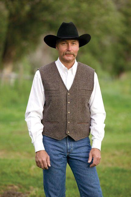 Schaefer Ranchwear Cowboy Mens Western McKenzie Herringbone Merino Wool Vest XL in Vests | eBay