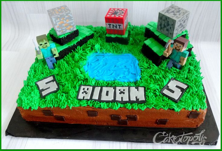 Minecraft Figures for Cakes | Minecraft themed sheet cake. Toys provided by customer