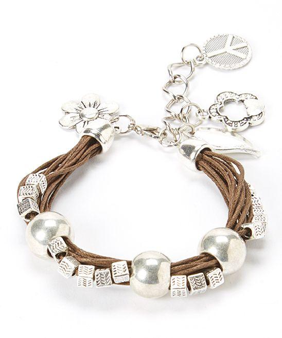 Silver Beaded Leather Charm Bracelet | zulily