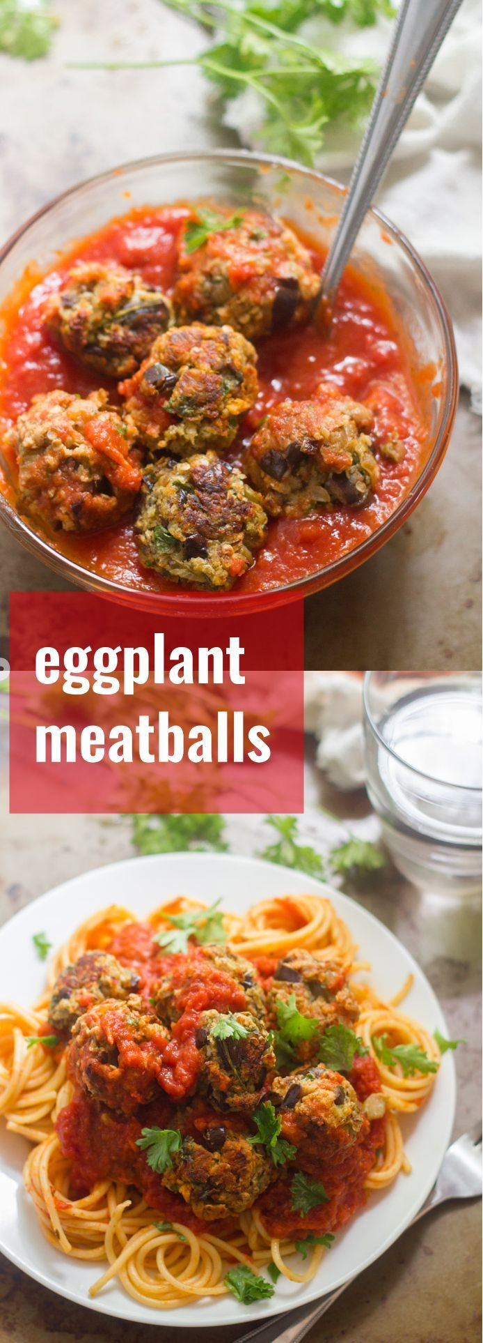 These vegan eggplant meatballs made with tender sautéed eggplant, crispy panko breadcrumbs and Italian seasonings, smothered in rich tomato sauce.