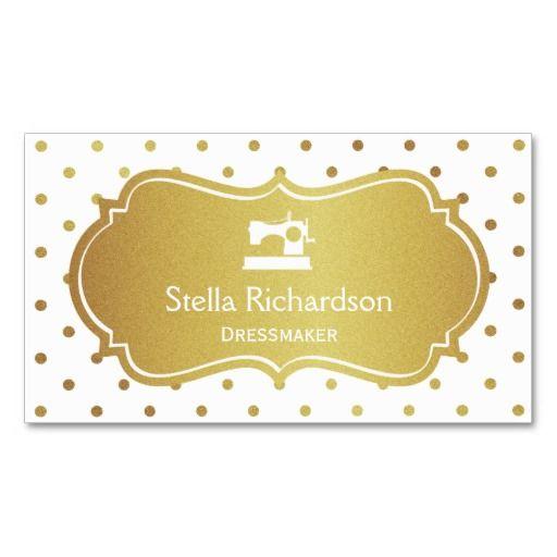 Dressmaker Seamstress Chic White Gold Polka Dots Standard Business Card