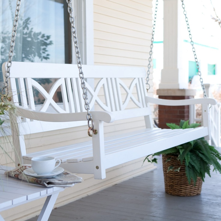 Matera Crossback Painted Wood Porch Swing White Porch