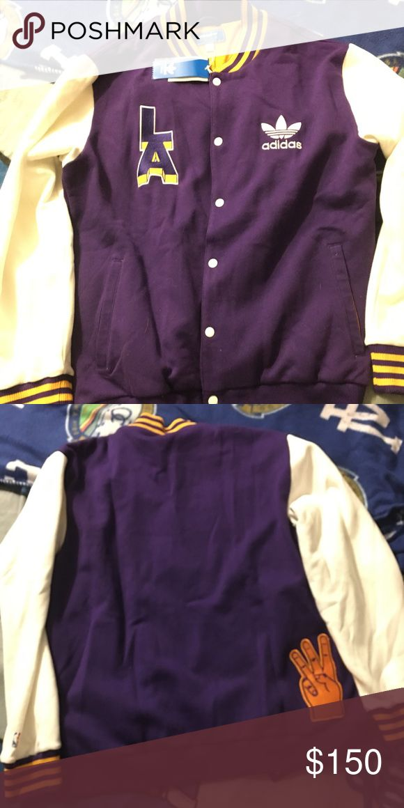 Extremely rare adidas men's laker jacket 3 stripes men's rare adidas laker jacket only 100 made size XL brand new with tags Adidas Jackets & Coats Lightweight & Shirt Jackets