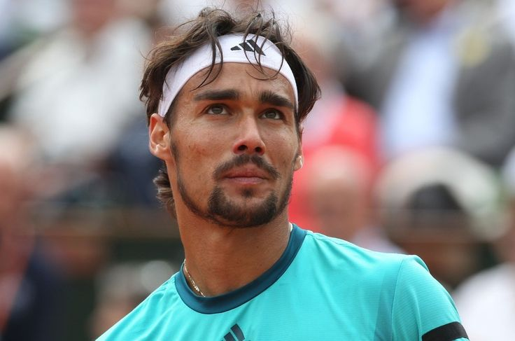 Fabio Fognini. After a slow walk on the court.