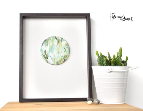 Abstract round art Original painting Grass Green by ThePennyDrops