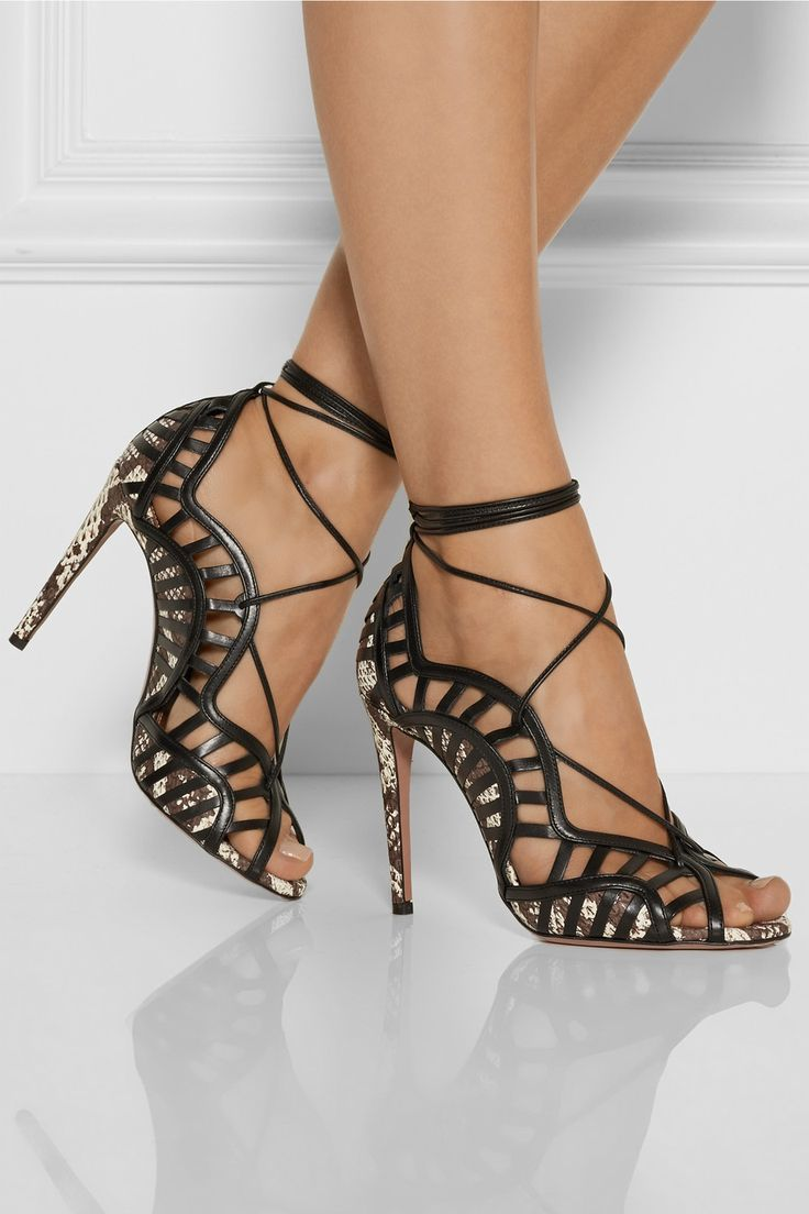 Aquazzura Lola lace-up elaphe and leather sandals