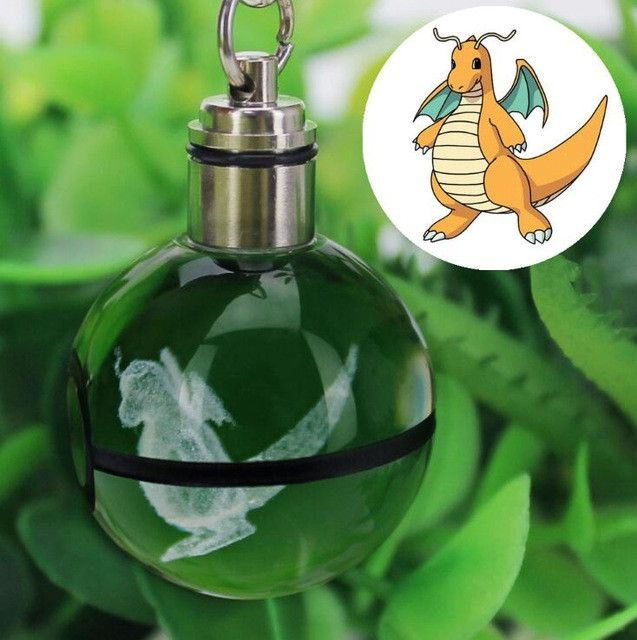 Glass Pokeball Lamp Keychain